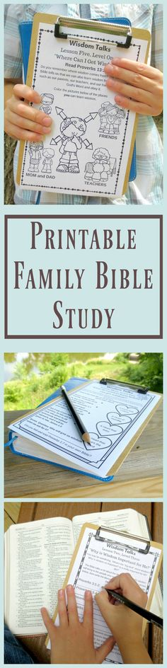 you looking for a family Bible study that will help your kids apply God's Word to their lives? The Wisdom Talks Family Bible study is super easy to use, includes engaging activities, and will get your family thinking and talking about God's Word. Family Bible Study, Bible Study For Kids, Kids Bible, Children's Bible, Bible Notes, Scripture Study, Bible Activities, Bible Resources, Church Activities