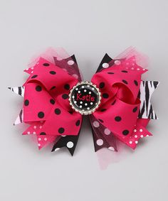 Pink & Black Personalized Layered Bow