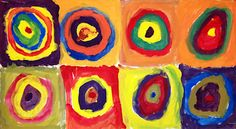 Give only the 3 primary colors of paint, and they come up with all of these amazing colors.  First fold paper to get the 8 square grid.  They start with red, yellow, and blue somewhere in their painting (either a dot or circle), and then they have to color mix to fill in the space.