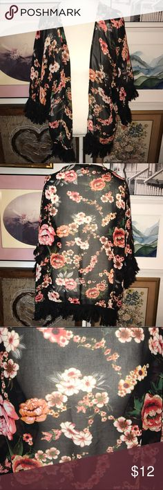 Sheer Black & Pink Fringed Kimono Size Small Purchased last year, worn once and washed once! A year later and still on trend! 🌸 Pink Melo Tops