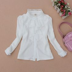 CLASSIC LACE WHITE CHIFFON LONG-SLEEVED BLOUSE (Baby, Toddlers, Girls) JW0263