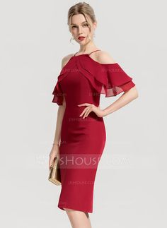 dc3a4495708 Sheath Column Square Neckline Knee-Length Cascading Ruffles Zipper Up Sleeves  Short Sleeves No Burgundy Spring Summer Fall General Plus Chiffon Cocktail  ...