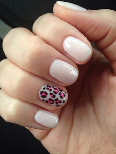 Christy C's nails @sasssycc @aprilsnailz | A little pink + leopard for breast cancer awareness month! CND shellac Strawberry Smoothie. nail design, nail art. **Leave the credits and details as these are someone's nails!**