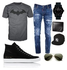 """Batman"" by faithprincess2000 on Polyvore featuring Dsquared2, Common Projects, Nixon, New Era, men's fashion and menswear"
