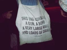 This bag contains a gun, a bomb, a very large knife, and loads of drugs - Trevor Jackson Carry On Luggage, Carry On Bag, Cabin Luggage, Hand Luggage, Trevor Jackson, Best Tote Bags, Rocker Chic, Nu Goth, Gyaru