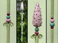 """Gartenkugeln & -stelen - """"GARTENSTELE"""" maigrün-rosa - ein Designerstück von Brigitte_Peglow bei DaWanda"""