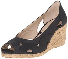 Adrienne Vittadini Footwear Womens Bounce Wedge Pump Black 85 M US * Clicking on the VISIT button will lead you to find similar product