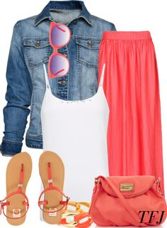 something like this would work! Jean jacket, white tank, maxi skirt..cute flip flops would be ok too.