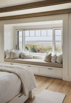 Home Decor Bedroom;Window seat with a view :: beautiful beach house in Martha's Vineyard with barn … - Home Decor Bedroom Home Decor Bedroom, Bedroom Seating, Beach House Interior, Living Room Decor, Home Decor, House Interior, Home Interior Design, Interior Design, Bay Window Seat