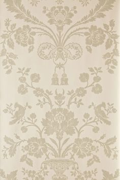 St. Antoine damask wallpaper from Farrow and Ball, a pattern first produced in 1793.