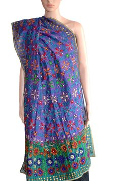 A beautiful #dupatta in Blue and Green #Chanderi #Fabric with colourful #handembroidery. Could not be more apt for that different look. (Fabrics of #India - www.facebook.com/fabricsofindia2013) Price: USD 42