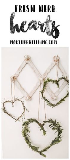 How to quickly make your own fresh herb heart wreaths to add a little bit of Valentine's decor to your home. Valentine Day Crafts, Valentine Decorations, Be My Valentine, Beste Mama, Wedding Wreaths, Heart Wreath, Diy Wreath, Fresh Herbs, Party Time