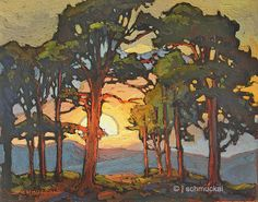 Mission Arts and Crafts CRAFTSMAN Pine Sunset - Giclee Art PRINT of Original Painting matted 11x14 by Jan Schmuckal
