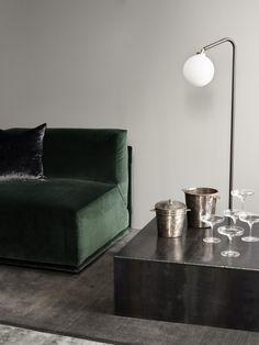 TDC: Rue Verte | Meridiani green velvet, Kube Iron Table & Array Floor Lamp
