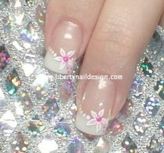 Floral and French manicure nail art