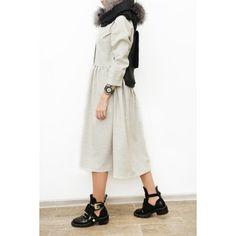 Achers free size maxi shirt-dress from wool fabric and buttons #achers#wooldress#maxidress#warmdress