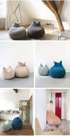 The Slumber Pouf is a bean bag like chair with a woven cover reminiscent of coarse knitting. Designed by Aleksandra Gaca and produced by Belgian textile maker Casalis Slumber Poufs spring back to their original form after being sat on thanks to a three-dimensional elastic fabric made of Kid Mohair mixed with merino wool.