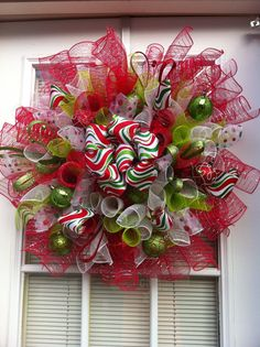 Spiral Christmas Mesh Wreath Red/Green by KKsHandmadeWreaths, $40.00