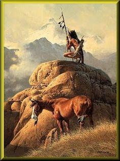 The Lone Sentinel Frank McCarthy western art prints Native American Paintings, Native American Pictures, Indian Paintings, Art Paintings, Native American Warrior, Native American History, Westerns, Art Occidental, Western Comics