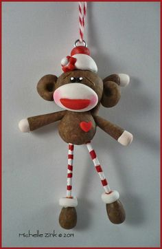 New Polymer Clay Sock Monkey Ornament by michellesclaybeads