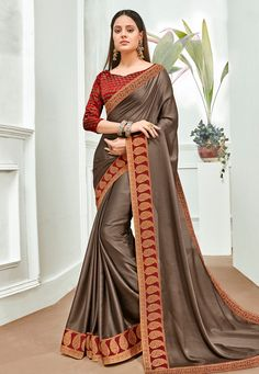 Buy Brown Chiffon Festival Wear Saree 201204 with blouse online at lowest price from vast collection of sarees at Indianclothstore.com. Chiffon Saree, Chiffon Fabric, Celebrity Gowns, Trendy Sarees, Indian Sarees Online, Elegant Saree, Work Sarees, Designer Sarees Online, Traditional Sarees