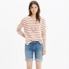 """Our denim shorts are made to fit just right—not too baggy, not too tight. A longer-than-ever bermuda inseam and a fresh (and superflattering) high rise give these shorts exactly the right dose of kick-around appeal. All in a special premium denim that hails from Italy—<i>così bella</i>! <ul><li>True to size, fixed waistband.</li><li>9"""" inseam, but we like it rolled to 8"""".</li><li>Cotton with a hint of stretch.</li><li>Machine wash.</li><li>Import.</li><li>Madewell.com only.</li></ul>"""
