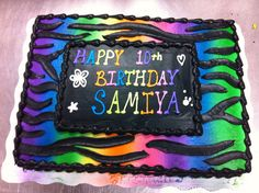 BYSP2269 Sheet cake Neon green and pink cake with swirls Teen