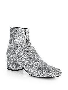 Saint Laurent Glitter Leather Ankle Boots  PLEASE