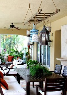 Creative ideas how you can use ordinary old wooden ladder as pieces of furniture or as part of the decor in your home. Wooden ladder are cheap, will not burden your budget and will add retro touch to your home. Outdoor Rooms, Outdoor Living, Outdoor Decor, Outdoor Ideas, Outdoor Photos, Hanging Lanterns, Hanging Lights, Hanging Chandelier, Lantern Chandelier