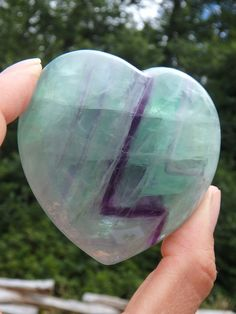 **GORGEOUS PATTERNS BRILLIANT FLUORITE HEART CARVING** NEW In the SHOP HERE:
