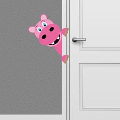 Peeking Hippo Wall Decal Kids  Nursery Decor -- Baby might need this. :)
