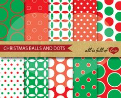Polka Dots Spring Sale 50% off Digital Backgrounds Paper Pack CHRISTMAS by AllFullOfLove, $2.99