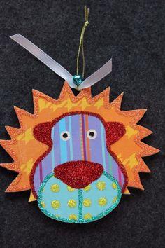Adorable Lion Nursery Baby Kids Wood Slice Ornament Mobile Signed Lichtenstein