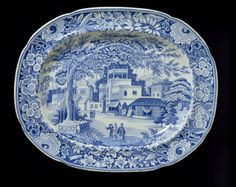 """1820 British Meat dish at the Victoria and Albert Museum, London - From the curators' communities: """"Huge meat-plates of blue-printed Staffordshire earthenware have survived in large numbers, due both to the large numbers which were made and to their occasional use - most probably for Sunday roast beef lunches."""""""
