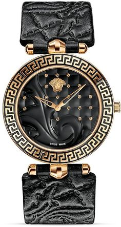 Versace Vanitas Rose Gold PVD Watch with Black Enamel Dial, 40mm
