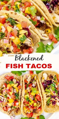 These Blackened Fish Tacos are not like typical fish tacos in San Diego because this fish is not battered and fried like Baja California Fish Tacos and they don't have a Baja fish taco sauce. Instead, Blackened Fish Tacos are spicy, delicious and are topped with a Mexican Cabbage Slaw, sometimes called Fish Taco Slaw, and/or Mango Salsa. Seafood Pasta Recipes, Seafood Dishes, Fish Dishes, Side Recipes, Easy Dinner Recipes, Recipes Using Fish, Slaw For Fish Tacos, Cooking Recipes, Healthy Recipes
