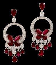 GRAFF Diamond & Ruby Whimsical Butterfly Earrings