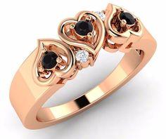 Valentine 14k Rose Gold Triple Heart Band 0.15 Ct Black & SI Diamond Free Sizing - Diamond