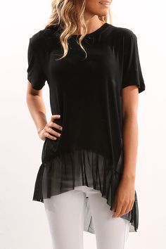 Check out this product from Jean Jail: Unassigned: Chiffon Hem Tee Black