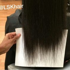 """When new clients come to me, I always demonstrate with a plain white sheet of paper just how much of their hair needs to be cut. I never use the term """"trim"""" in cases like this because that word leads people to believe they only need an inch or less removed, when that isn't usually the case. This young lady hadn't had a trim in over a year and I showed her the damage. Upon her consent, we cut about 4 1/2-5"""" off to even it up and get her back to a healthy start. LSK Hair San Leandro, CA"""