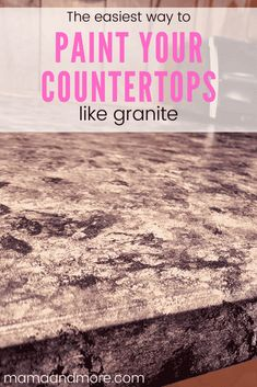 How to Paint Your Countertops Like Granite • Mama and More Painting Laminate Countertops, Cheap Countertops, Diy Kitchen Projects, Easy Projects, Kitchen Decor, Maplewood Kitchen, Granite Paint, Diy Sponges, Sea Sponge
