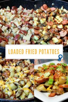 Potatoes + sausages + bacon + cheesy goodness + mushrooms = easy delicious dinner!