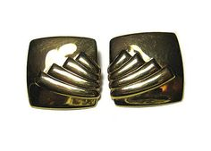Vintage Monet Earrings Gold Tone Square Clip On by SharkysWaters