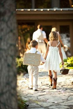 Rustic Country Wedding with Ring Bearer Sign. Handmade. Wrapped cardboard in burlap and used stencils to paint the wording.
