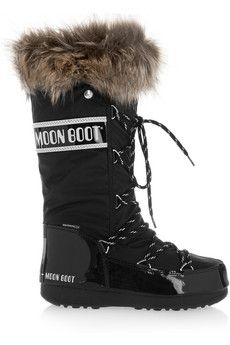 Moon Boot Après-ski en cuir verni synthétique et piqué de tissu imperméable à finitions en fourrure synthétique | NET-A-PORTER