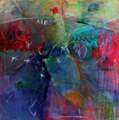 """Abstract Painting Figure on Large Canvas Colorful """"Flight Dance"""" 36x36""""  LOVE these colors!"""