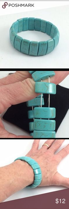 """Howlite turquoise slip on bracelet  Perfect gift for older ( or even younger! ☺️ ) friends who can't maneuver those tiny clasp rings to get their bracelets on! Howlite is a naturally white porous semiprecious stone that can be dyed many colors. ( I had to look it up!☺️)Features 19 rectangled designed stones on stretch cord. 7.5"""" length, stones are 2"""" x 1"""". Weight is 1.5oz. Comes with black felt jewelry gift bag. Jewelry Bracelets"""