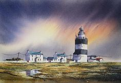 The Hook Revisited by Roland Byrne Irish Landscape, Painters, Watercolor Paintings, Landscapes, Artists, Wall Art, Paisajes, Scenery, Water Colors