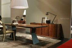Riva 1920, made in Italy: Bedrock Plank C table, project by Terry Dwan. Solid walnut top.