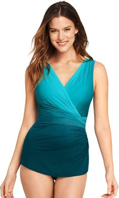 4a663262e54d2 Lands end Women s Petite Slender Surplice Tunic One Piece Swimsuit with Tummy  Control  Features